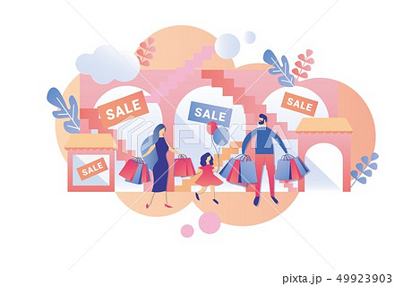 Parents with Child Visit Mall at Weekend and Sale. 49923903