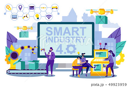 Vector Illustration Smart Lettering Industry 4.0. 49923959