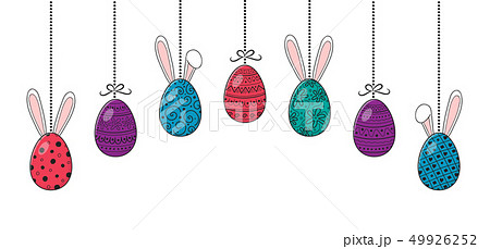 Easter banner with hanging eggs and funny bunnies. 49926252