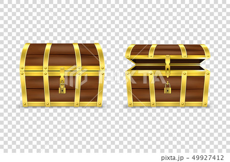 Vector 3d Realistic Closed and Opened Retro Vintage Antique Old Treasure Wooden brown Pirate Dower 49927412