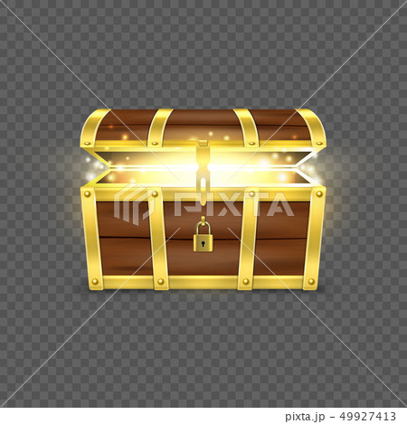 Vector 3d Realistic Opened Empty Retro Vintage Antique Old Treasure Wooden brown Pirate Dower Chest 49927413