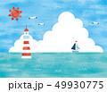夏の海と燈台の景色水彩 49930775