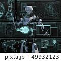 モニターを見る人型ロボット perming3DCGイラスト素材 49932123