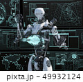 モニターを見る人型ロボット perming3DCGイラスト素材 49932124