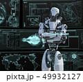モニターを見る人型ロボット perming3DCGイラスト素材 49932127