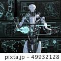モニターを見る人型ロボット perming3DCGイラスト素材 49932128