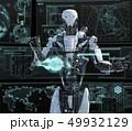 モニターを見る人型ロボット perming3DCGイラスト素材 49932129