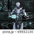 モニターを見る人型ロボット perming3DCGイラスト素材 49932130