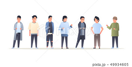 young asian men group wearing casual clothes happy attractive guys standing together chinese or 49934605
