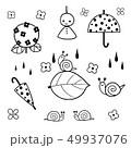 6月の素材 モノクロ 線画 49937076