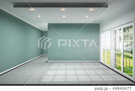 empty room interior design has mint wall  49940477