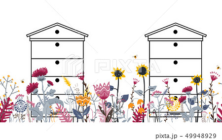 Bright seamless meadow border with beehives, bees, and flowers. Vector. Apiary concept. 49948929