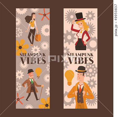 Victorian people vector gentleman in hat and woman character in vintage fashion dress on retro party 49950837