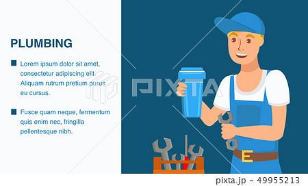 Plumbing Services Web Banner Cartoon Template 49955213