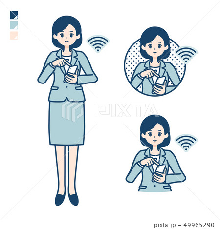 calm type suit business woman_smartphone touch 49965290