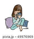女の子 子供 発熱のイラスト 49976969
