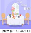 デザート 給士 テーブルのイラスト 49987111