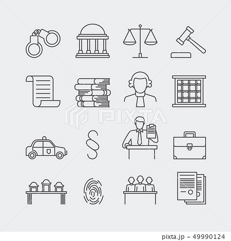Law and justice thin line vector icons 49990124