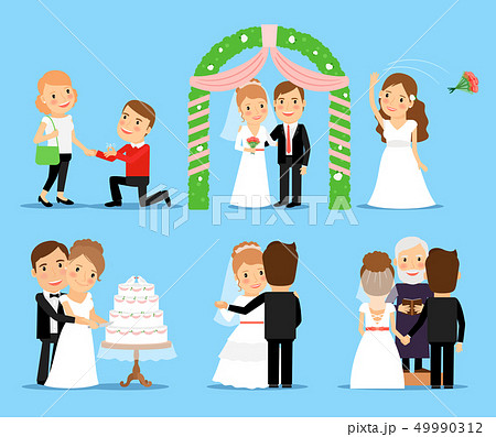 Wedding party vector characters 49990312