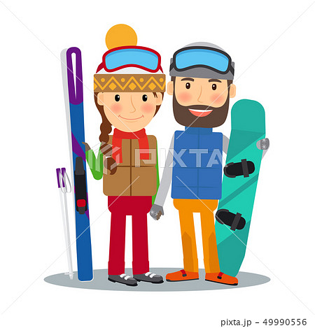 Young couple with ski and snowboard 49990556