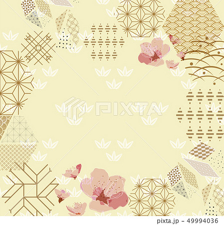 Geometric template with cherry blossom vector.  49994036