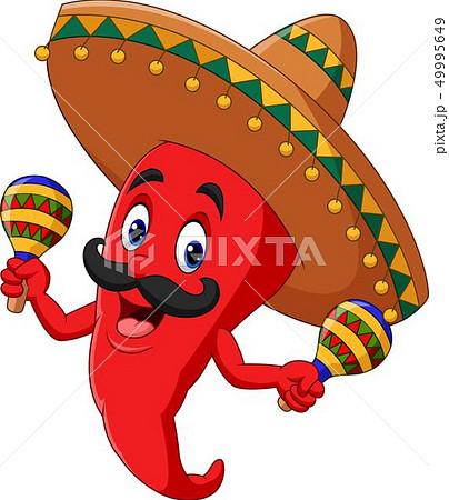Cartoon chili pepper playing maracas 49995649