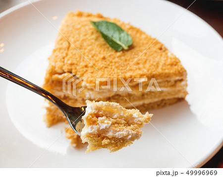 White plate with honey cake. Tasty dessert 49996969