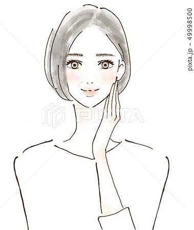 幸せ 美容 健康的なシニア女性 イラスト 手描き 49998500