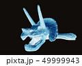 トリケラトプス頭部の骨・化石の写真 レントゲンのイメージ|科学・生物|黒背景 49999943