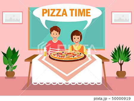 Sister, Brother Having Dinner at Home Illustration 50000919