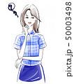 悩む女性 青いシャツ 50003498