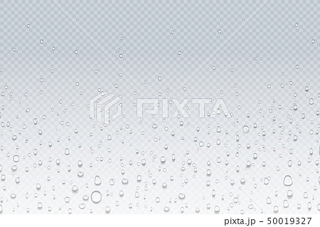 Water drops on glass. Rain droplets on transparent window, steam condensation pattern, shower glass 50019327