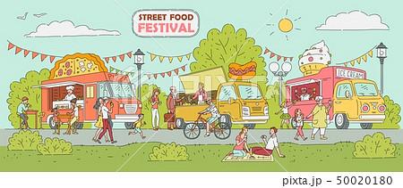 Street food festival - ice cream truck, pizza vendor car, hot dog stand 50020180