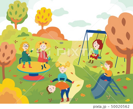 Cheerful children playing outdoors in autumn park and swinging. 50020562