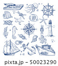 Sea or ocean underwater life with different animals and marine objects. Vector pictures in hand 50023290