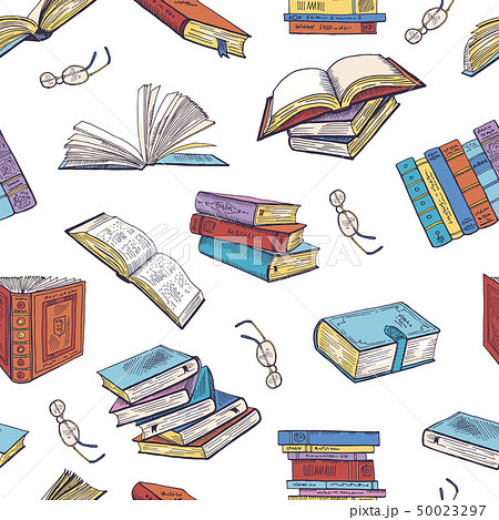 Different books from library. Doodle vector illustrations. Seamless pattern 50023297