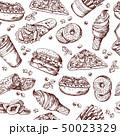 ハンバーガー 食 料理のイラスト 50023329