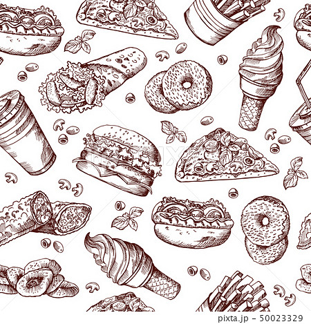 Fast food vector seamless pattern. Hand drawn illustration of hamburger sandwich cola and french 50023329