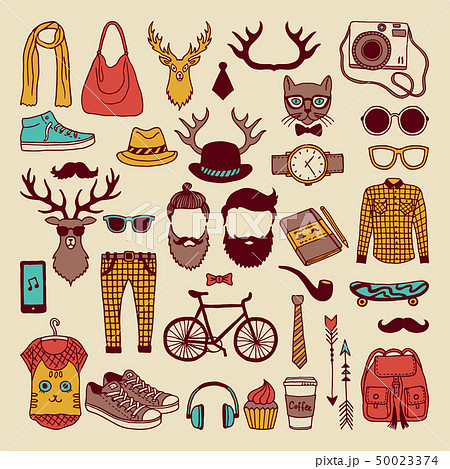Modern graphic elements in hand drawn style. Fashioned hipsters culture icon set 50023374