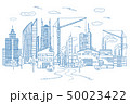 図案 町中 中心街のイラスト 50023422