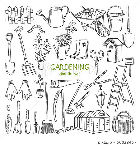 Vector hand drawn illustrations of gardening. Different doodle elements set for garden work 50023457