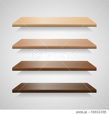 Set of wood shelves with shadows 50032206