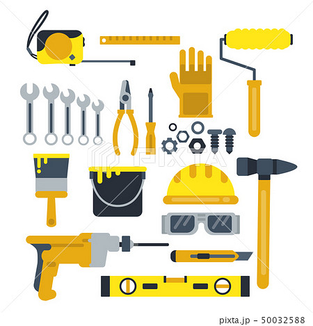 Building or repair tools, work helmet, hammer, paint gloves and other industrial vector icons set 50032588