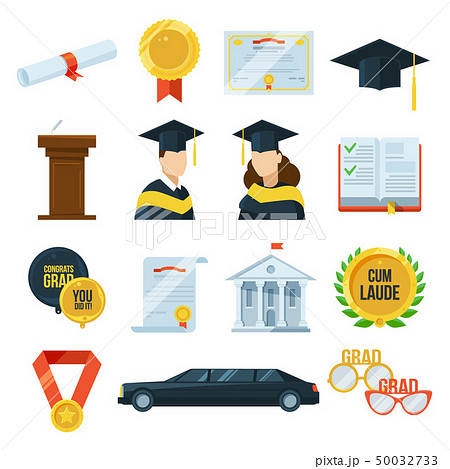 Vector icons set of graduation student party. Gown and cap, diplomas. Illustration in flat style 50032733