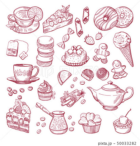 Tea and coffee different elements. Sweets, cupcakes. Hand drawn vector illustrations 50033282