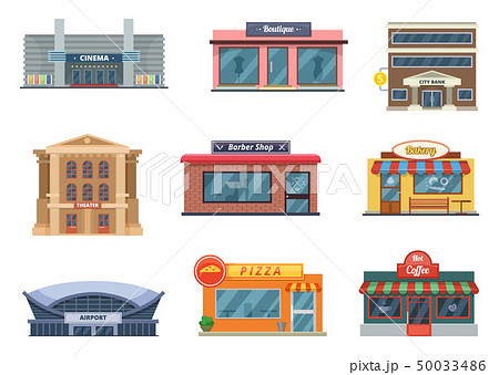Shops and municipal buildings, mini stores and others. Vector pictures in cartoon style isolate on 50033486