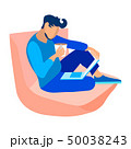 Young Guy with Laptop, Coffee Vector Illustration 50038243