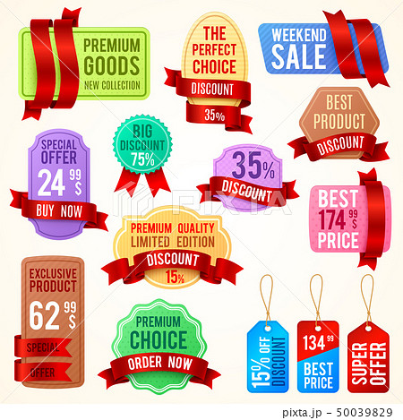 Sale and discount price tags, ribbon banners with promo text. Promotion badges vector set 50039829