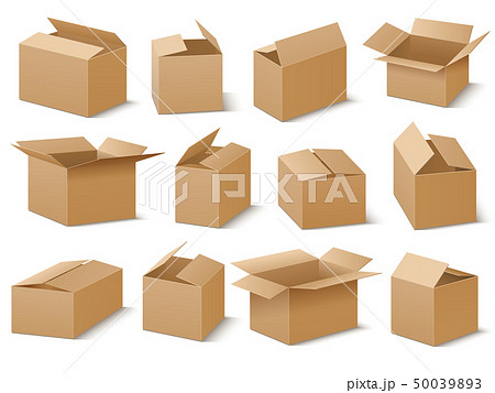 Open and closed cardboard boxes vector set 50039893