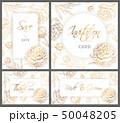 Wedding Templates Set With Hand Drawn Peony 50048205
